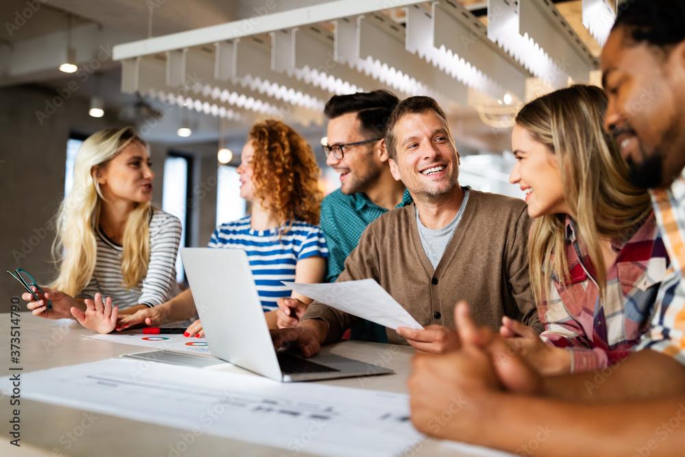 Fototapeta Business people designer architects teamwork brainstorming planning meeting concept