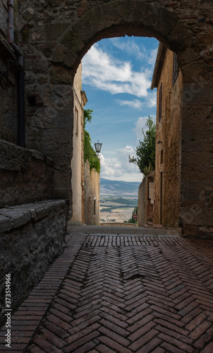 A door with a amazing view in Pienza, a beautiful town in the Tuscan countryside Canvas Print