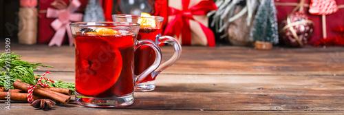 Obraz na plátně mulled red wine glass winter drink hot juice serving size spices beverage New Ye