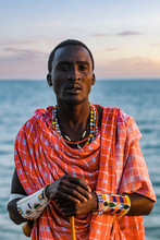 Maasai Man On The Beach