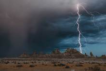 Lightning Over Tufa Formations...