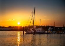 Sailboats At Sunrise At The Ma...