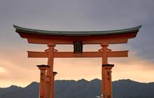 Great Torii Of Miyajima At Sun...