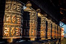 Buddhist Prayer Wheels At A Temple In Kathmandu, Nepal.