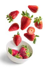 Strawberries Flying In White B...