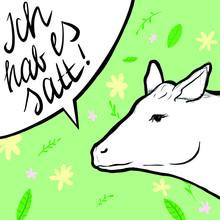 """Eine Kuh Auf Buntem Hintergrund Mit Sprechblase ,,Ich Hab Es Satt!"""""""