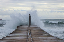 Big Ocean Wave Hit In A Jetty ...