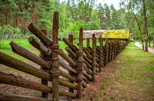Old Wooden Fence In A Village Near Riga, Latvia