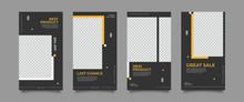 Design Backgrounds For Social Media Banner. Set Of Instagram Stories And Post Frame Templates.