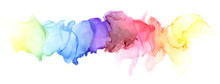 Abstract Blot Watercolor Rainb...
