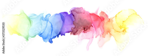 Abstract blot watercolor rainbow color painting horizontal background. Marble texture .