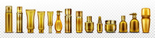 Gold Cosmetic Bottles Mockup, ...