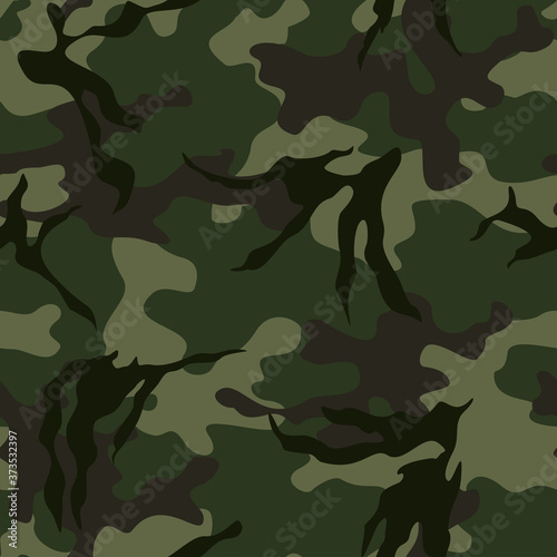 Fototapeta Green camouflage seamless military texture vector graphic