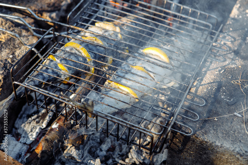 Photo Grilled fish. Mackerel in a steel lattice turns over a brazier