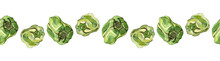 Seamless Border Of Green Peppers, Isolated On White. Watercolour Illustration. For Menu, Recipes, Cookbook, Cards And Packaging Design.