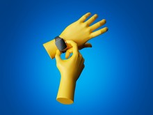 3d Render, Yellow Mannequin Hands With Black Electronic Watch Device. Clip Art Isolated On Blue Background. Virtual Technology Concept