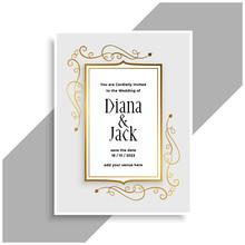 Elegant Golden Floral Frame Wedding Invitation Card Design