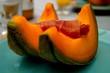 canvas print picture - Melon avec une tranche de jambon