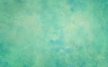 Blue Green Background, Old Watercolor Paper Texture, Painted Marbled Vintage Grunge Illustration