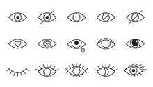 Eye Line Icons, Editable Strokes. Open, Closed Eyes, Visible Invisible Concept, Hidden Password, View Minimal, Love, Cry. Black Outline Signs. Vector Illustration