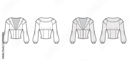 Tablou Canvas Ruffled cropped blouse technical fashion illustration with long bishop sleeves, puffed shoulders, front button fastenings