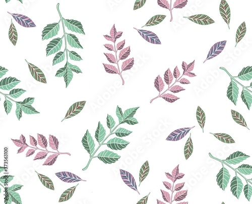 Foto Autumn leaves pattern, seamless background. Vector illustration
