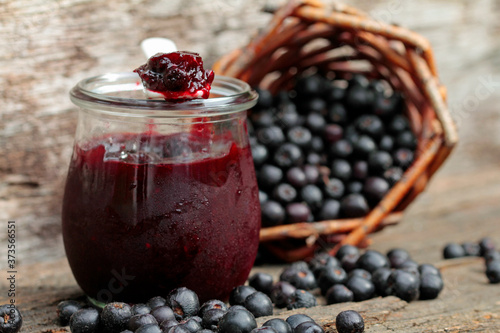 Fotografie, Obraz Homemade jam made from aronia berries and plums