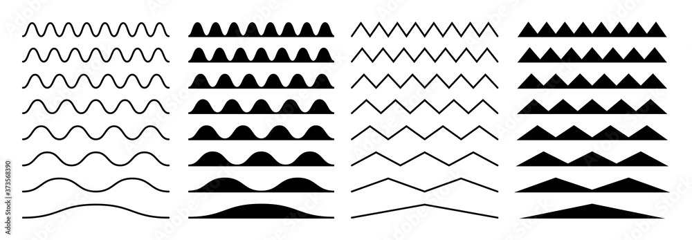 Fototapeta Zigzag borders. Jagged wavy decorations, serrate wave stripes. Isolated black squiggle headers or dividers, paper edge decorative footer vector set. Illustration curve line wave, horizontal, divider