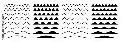 Fototapeta Zigzag borders. Jagged wavy decorations, serrate wave stripes. Isolated black squiggle headers or dividers, paper edge decorative footer vector set. Illustration curve line wave, horizontal, divider obraz