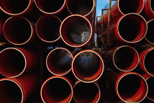 Red Plastic Pipes