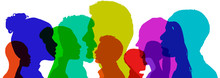 Diversity Concept, With Silhouettes In Color, Of People Of Different Ethnicities, Ages And Gender