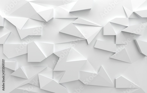 Abstract wall with triangular shapes in white, 3d render Canvas Print