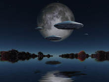 Flying Saucers Approach Moon. ...