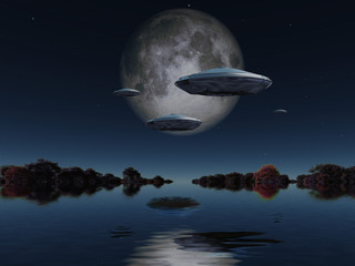 Flying saucers approach moon. Forest surrounded by water at the horizon. 3D rendering