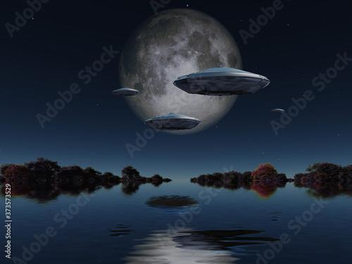 Obraz na płótnie Flying saucers approach moon