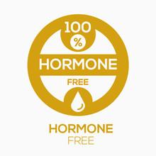(Hormone Free) Label Sign, Vec...