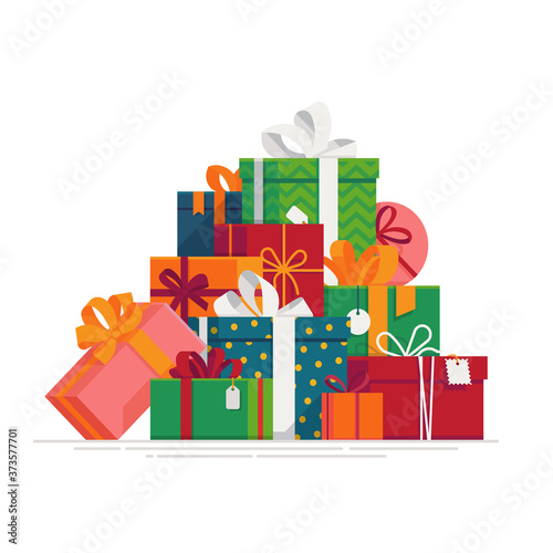 Fototapeta ovely flat vector festive holiday design element on stack or pile of large variety of gift boxes and present packages. Ideal for Christmas themed web and graphic design obraz