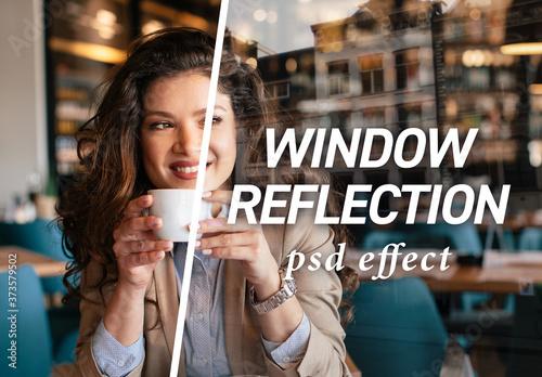 Fototapeta Window Reflection Effect Mockup