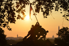 US Marine Corps War Memorial And Washington D.C. Skyline During Sunrise - Circa Washington D.C. United States