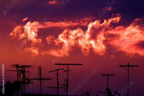 Antenas no telhado e o céu avermelhado Canvas