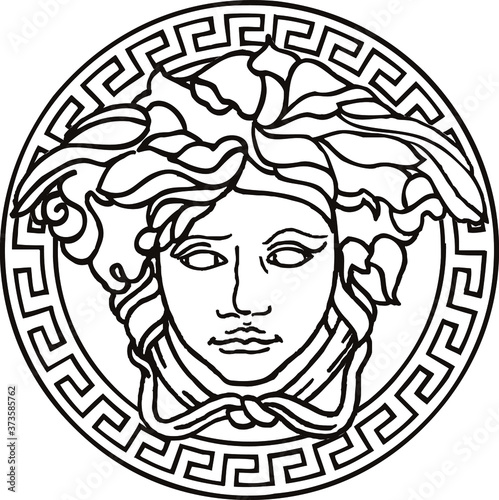Vector illustration of Medusa mask Wallpaper Mural