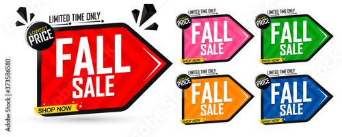 Leinwand Poster Set Fall Sale banners, Autumn discount tags design template, vector illustration