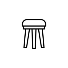 Wood Chair Stool Icon  In Blac...