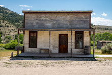 Old Abandoned Wild West Building In Bannack Ghost Town In Montana