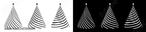 Fotografie, Obraz Set of silhouettes of Christmas trees, stylized entwined with a festive ribbon