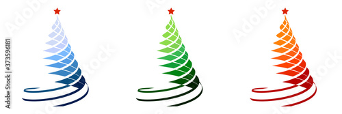 Fototapeta Set of silhouettes of Christmas trees, stylized entwined with festive ribbon