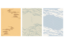 Chinese Template With Wave Pattern Vector. Cloud And Wave Background. Sea Surface Poster Design In Oriental Style.