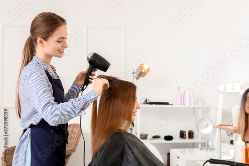 Obraz Hairdresser working with young woman in beauty salon - fototapety do salonu