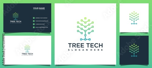 Leinwand Poster tree technology software solutions with business card templates