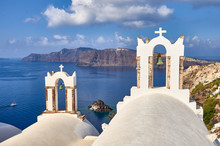 Bell Tower With Santorini Cald...